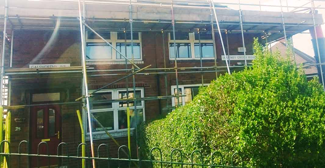 tower scaffolding with access around a chesterfield domestic house