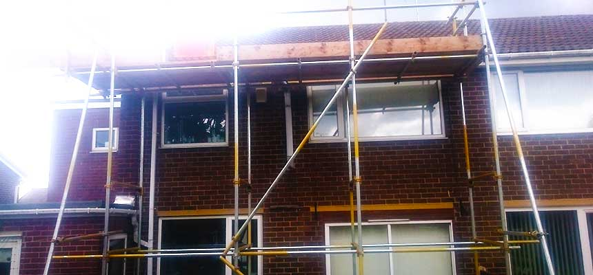 our sheffield emergency scaffolders making domestic scaffolding on a sheffield home safe once more