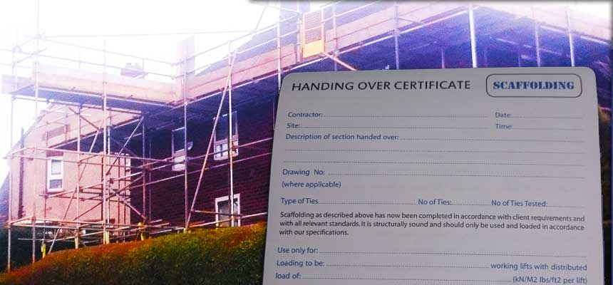 close up of a blank scaffold hand over certificate