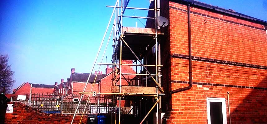 corner close up of residential home scaffold towers designed specifically for access solutions